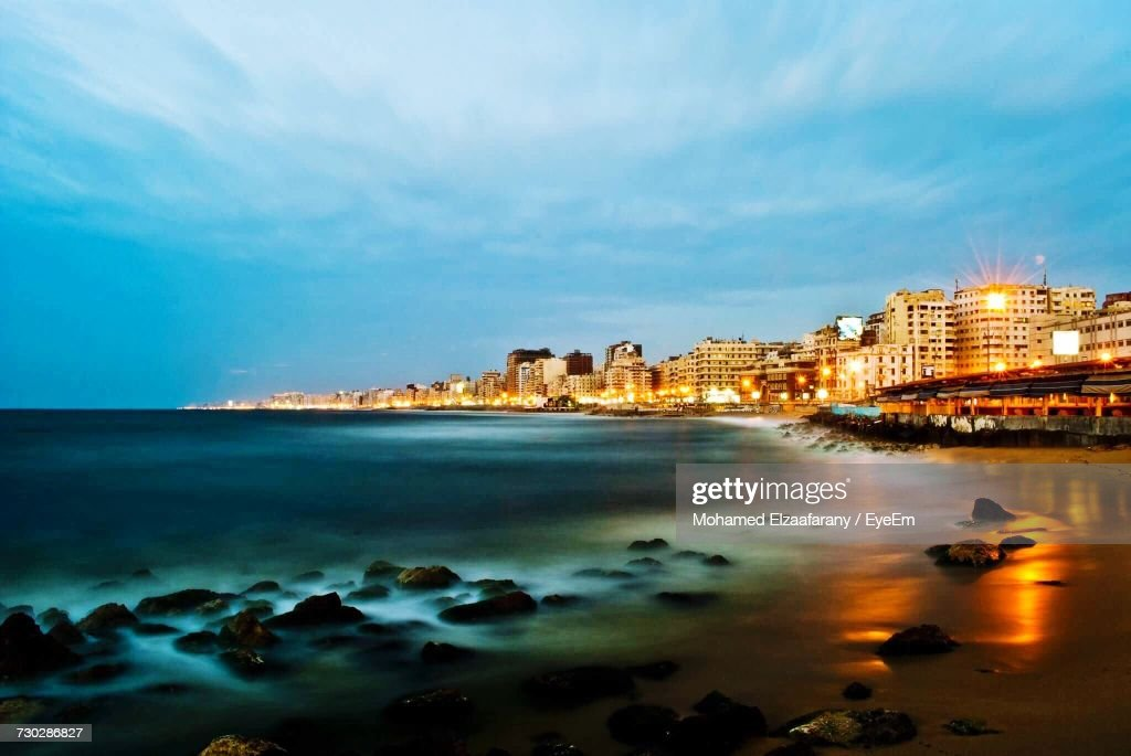 Scenic View Of Alexandria Beach At Sunset : Stock Photo