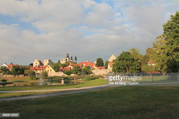 Scenic View Of Almedalen Park Against Cloudy Sky