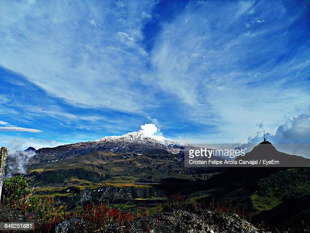scenic view of andes against sky - nevado del ruiz stock photos and pictures
