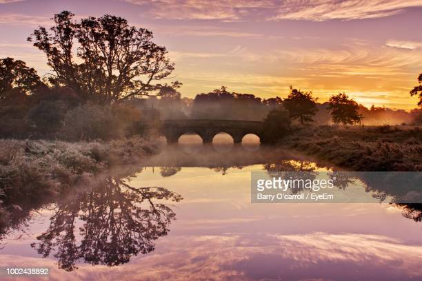 scenic view of arch bridge against sky during sunset - kildare stock photos and pictures