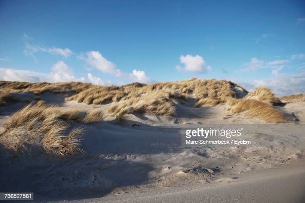 scenic view of arid landscape against blue sky - helgoland stock pictures, royalty-free photos & images