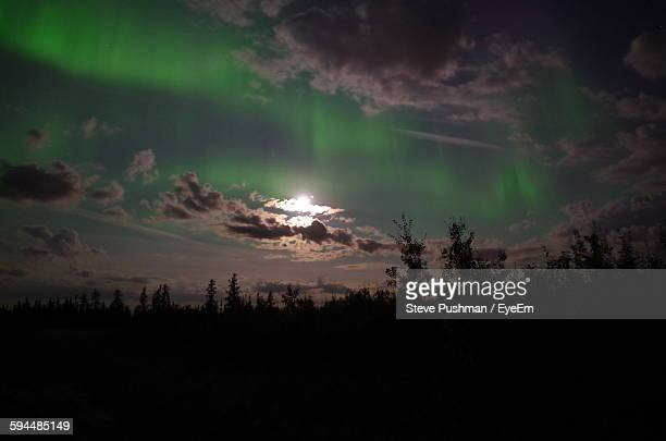 Scenic View Of Aurora Borealis Against Sky At Night