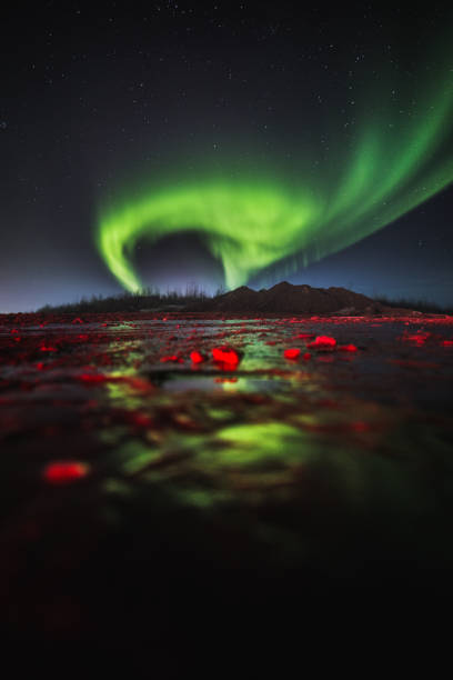 Scenic view of aurora borealis at night,Fort McMurray,Alberta,Canada