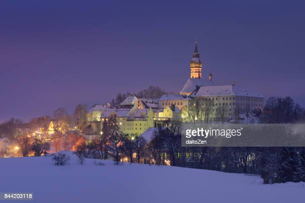 Scenic view of Baroque benedictine abbey of Kloster Andechs (Andechs Monastery) in winter, Upper Bavaria, Germany, Europe