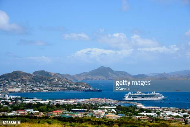 scenic view of basseterre, saint kitts and nevis - st. kitts stock photos and pictures