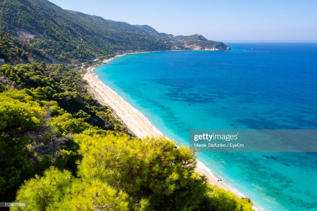 Scenic View Of Bay Against Clear Sky : Stock Photo