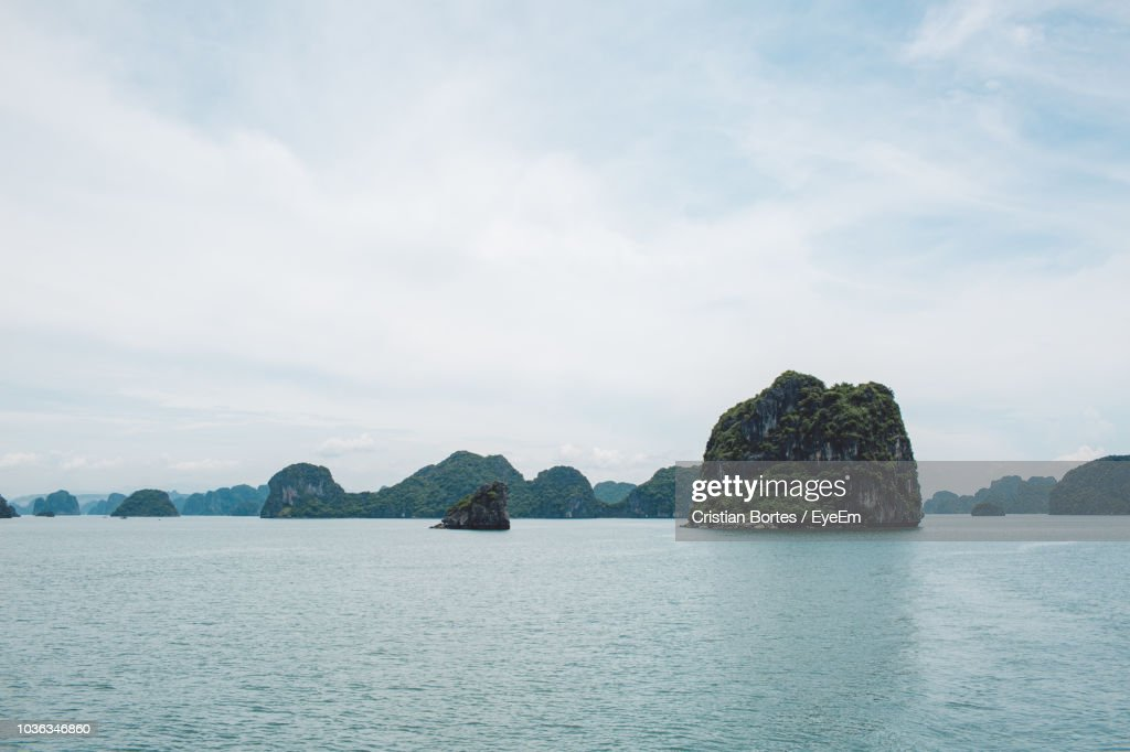 Scenic View Of Bay Against Sky : Stock Photo