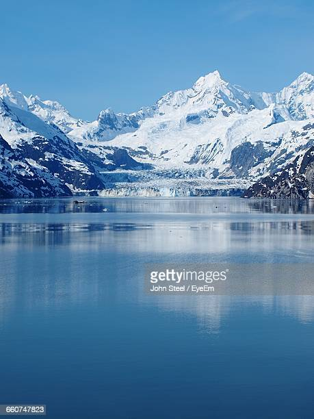 Scenic View Of Bay And Snow Covered Mountains At Glacier Bay National Park