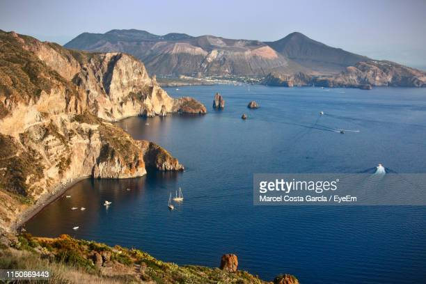 scenic view of bay - aeolian islands stock pictures, royalty-free photos & images