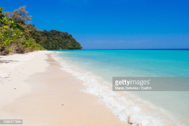 scenic view of beach against blue sky - marek stefunko stock photos and pictures