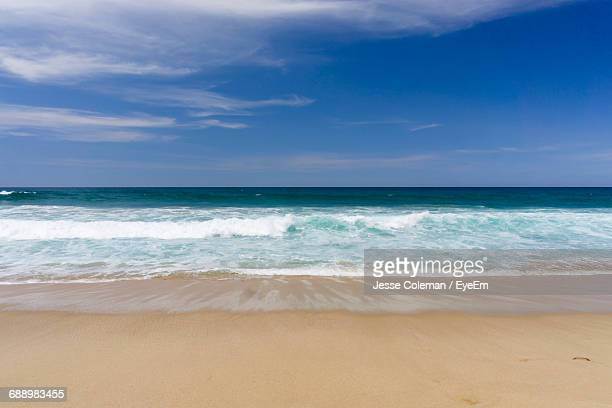 scenic view of beach against blue sky - jesse coleman stock pictures, royalty-free photos & images