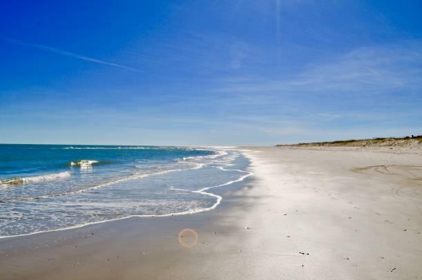 Scenic view of beach against blue sky,Bald Head Island,North Carolina,United States,USA
