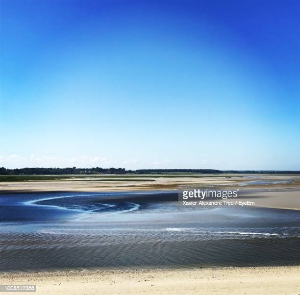 scenic view of beach against clear blue sky - somme stock pictures, royalty-free photos & images