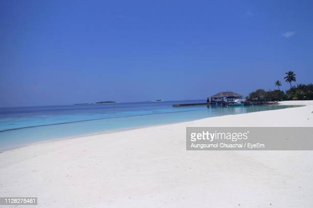 scenic view of beach against clear blue sky - aungsumol stock pictures, royalty-free photos & images