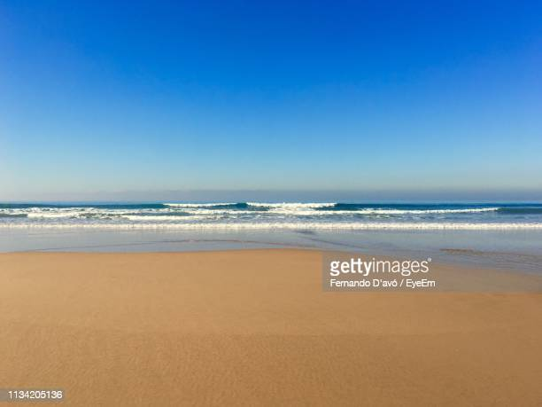 scenic view of beach against clear blue sky - avó stock pictures, royalty-free photos & images