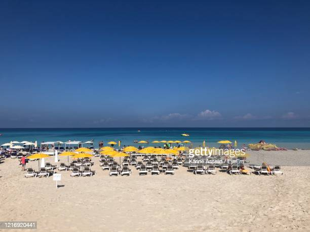 scenic view of beach against clear blue sky - karine asselin stock pictures, royalty-free photos & images