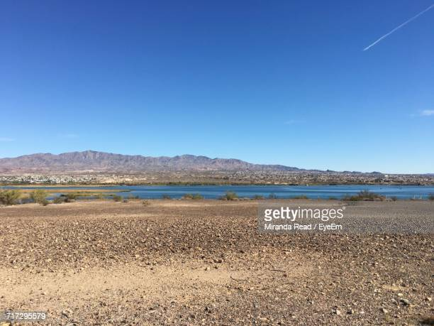 scenic view of beach against clear blue sky - lake havasu stock photos and pictures