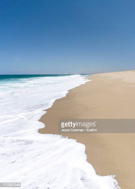 scenic view of beach against clear blue sky - jesse coleman stock pictures, royalty-free photos & images