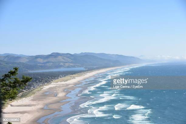 scenic view of beach against clear blue sky - liga cerina stock pictures, royalty-free photos & images