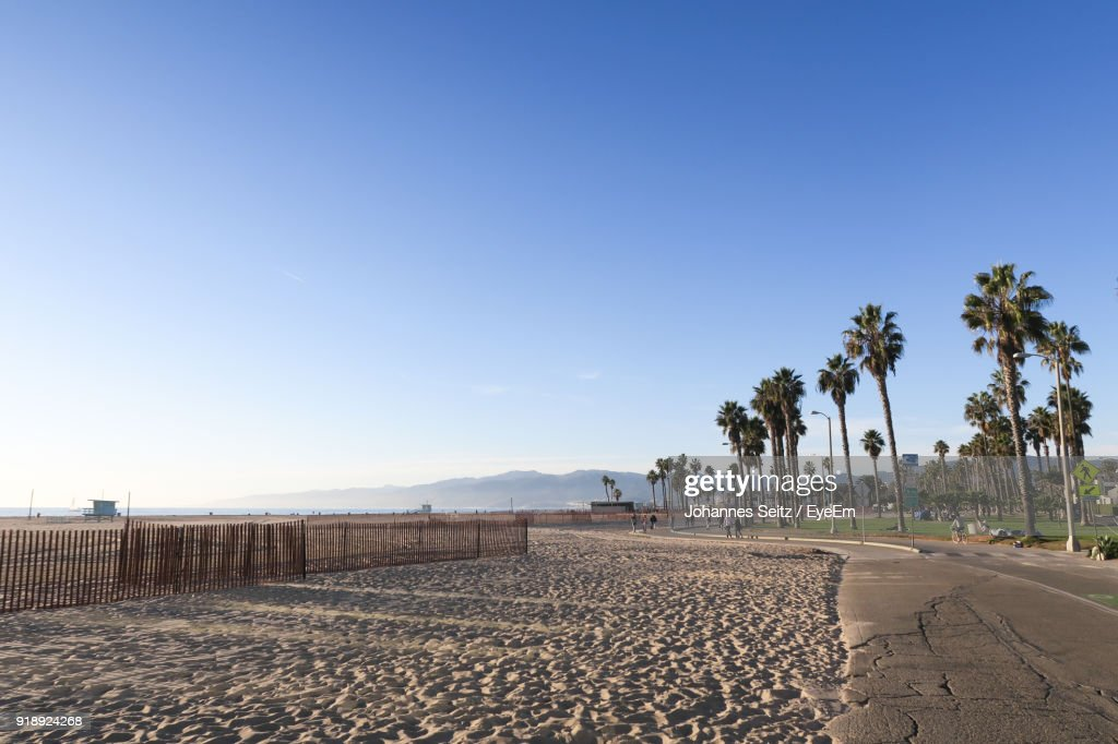 Scenic View Of Beach Against Clear Blue Sky : Stock Photo