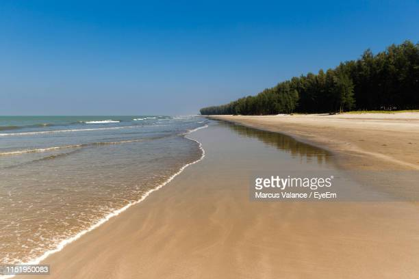 scenic view of beach against clear sky - cox's bazaar stock pictures, royalty-free photos & images