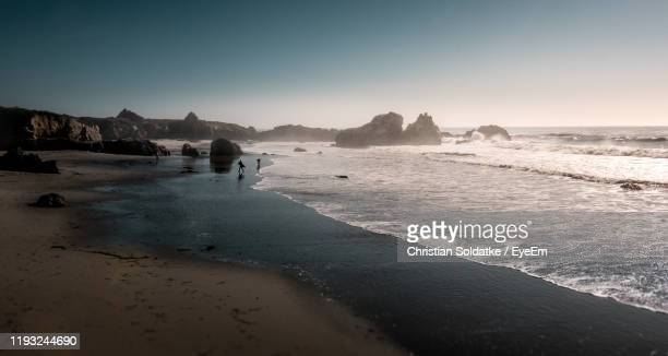 scenic view of beach against clear sky - christian soldatke foto e immagini stock