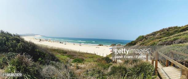 scenic view of beach against clear sky - sarah sands stock pictures, royalty-free photos & images