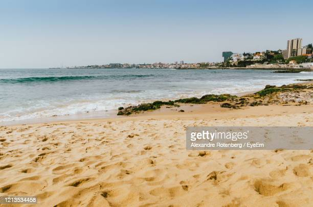scenic view of beach against clear sky - alexandre coste foto e immagini stock