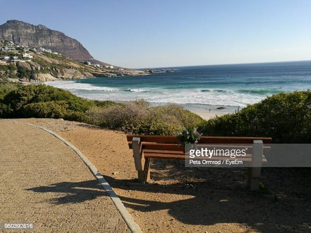 scenic view of beach against clear sky - constantia stock pictures, royalty-free photos & images