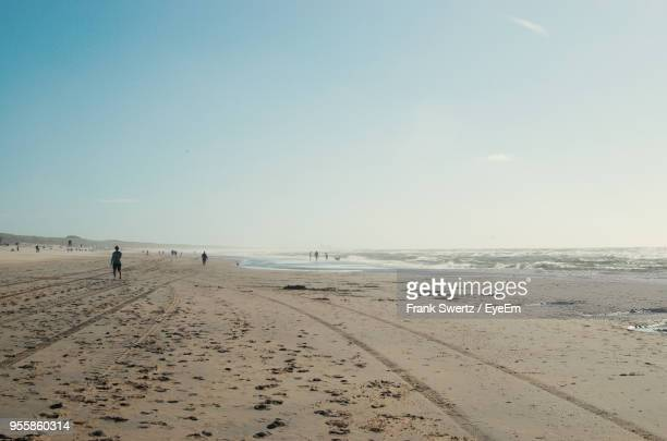 scenic view of beach against clear sky - frank swertz stockfoto's en -beelden