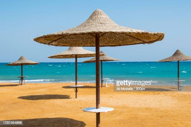 scenic view of beach against clear sky,ain sokhna,egypt - egypt stock pictures, royalty-free photos & images