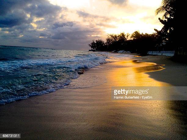scenic view of beach against cloudy sky during sunset - harriet stock photos and pictures
