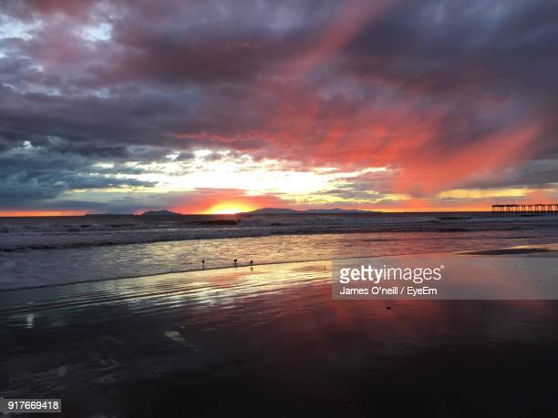 scenic view of beach against dramatic sky - james oneill stock photos and pictures