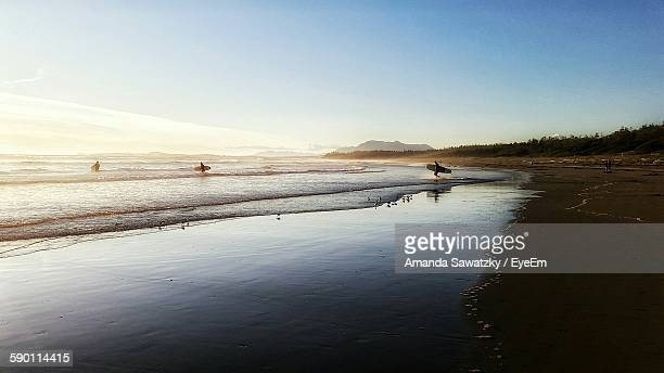 Scenic View Of Beach Against Sky At Tofino