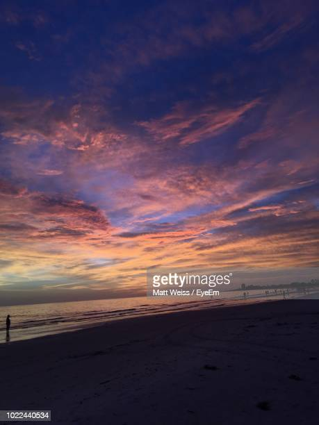 scenic view of beach against sky during sunset - siesta key stock pictures, royalty-free photos & images