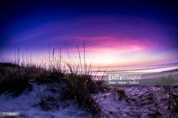 scenic view of beach against sky during sunset - jacksonville beach stock pictures, royalty-free photos & images