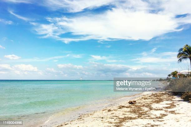 scenic view of beach against sky - anna maria island stock pictures, royalty-free photos & images