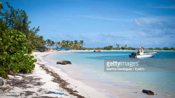 scenic view of beach against sky - oranjestad stockfoto's en -beelden