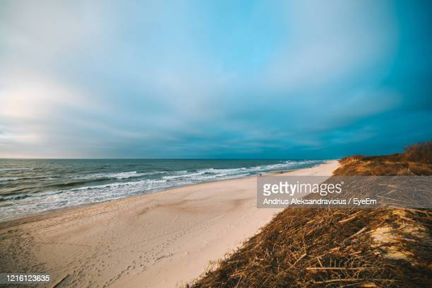 scenic view of beach against sky - lithuania stock pictures, royalty-free photos & images