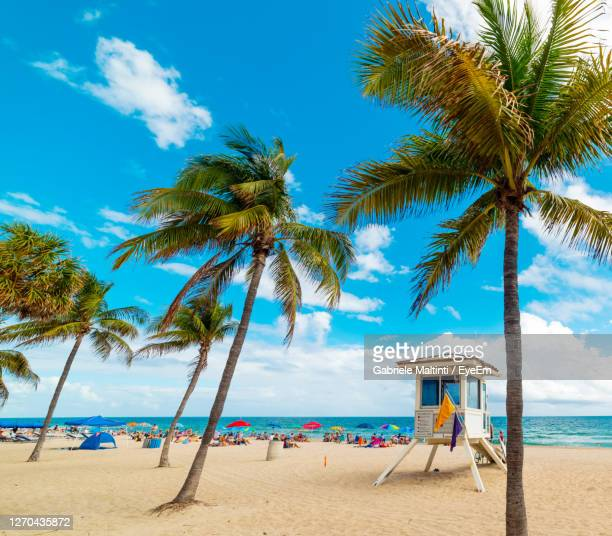 scenic view of beach against sky - fort lauderdale stock pictures, royalty-free photos & images