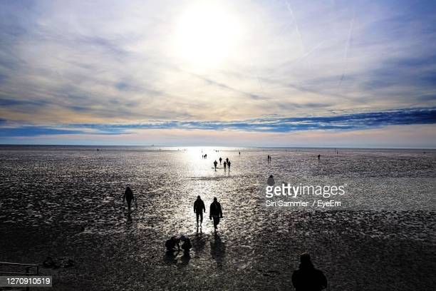 scenic view of beach against sky - schleswig holstein stock pictures, royalty-free photos & images
