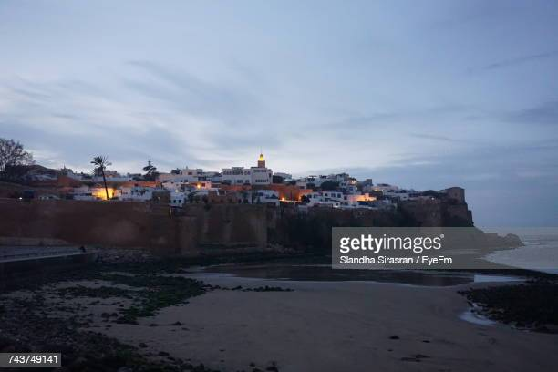 scenic view of beach against sky - rabat morocco stock pictures, royalty-free photos & images