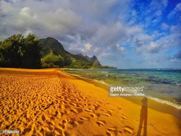 scenic view of beach against sky - antonov stock pictures, royalty-free photos & images