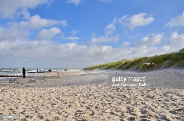 scenic view of beach against sky - fischland darss zingst photos et images de collection