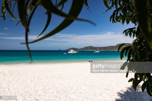 scenic view of beach against sky - whitsunday island stock photos and pictures