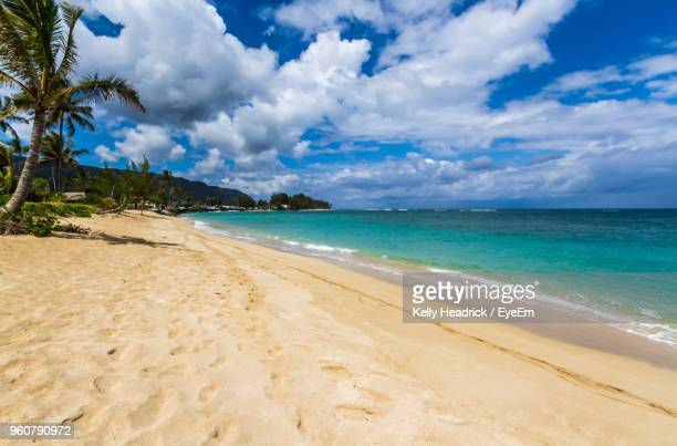 scenic view of beach against sky - north shore stock photos and pictures