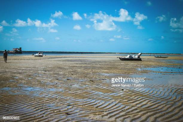 scenic view of beach against sky - porto galinhas stock photos and pictures