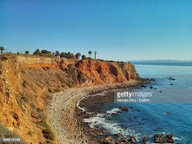 scenic view of beach and sea against clear sky - rancho palos verdes stock pictures, royalty-free photos & images