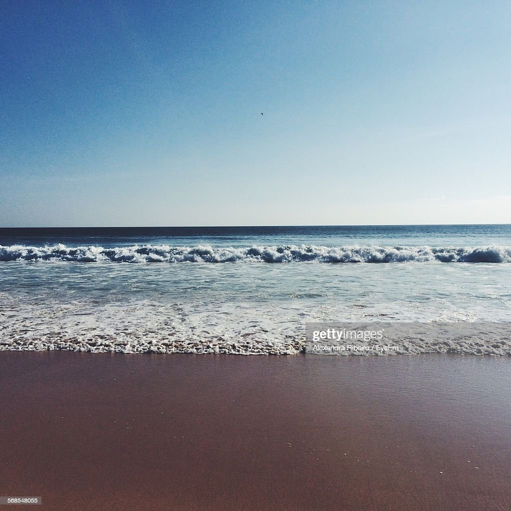 Scenic View Of Beach And Sea Against Sky : Stock Photo