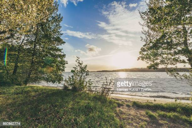 scenic view of beach and sea against sky - küste stock-fotos und bilder